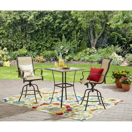 Mainstays Wesley Creek 3-Piece Outdoor Bar Height Set, Seats 2 ()