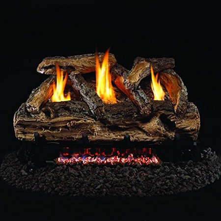 Peterson Real Fyre 20-inch Split Oak Log Set With Vent-free Natural Gas Ansi Certified G9 Burner - Variable Flame Remote