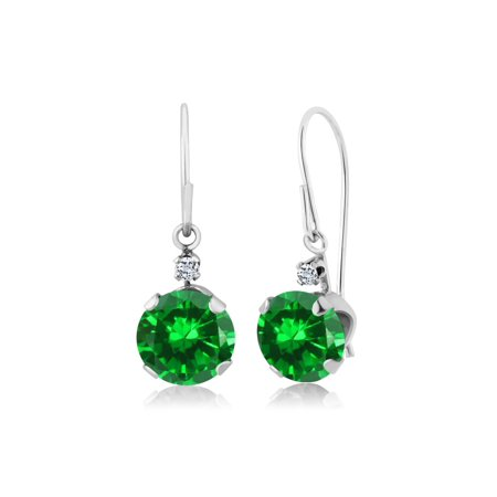 3.04 Ct Round Green Simulated Emerald White Topaz 14K White Gold Earrings - image 3 of 3