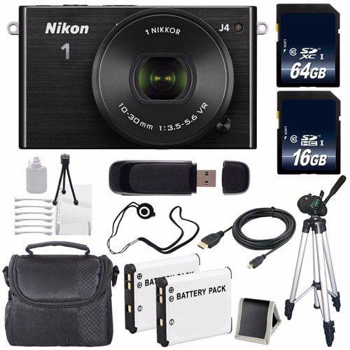Nikon 1 J4 Mirrorless Digital Camera with 10-30mm Lens (Black) (International Model No Warranty) + EN-EL22 Battery + 80GB Total Memory + 6AVE Bundle