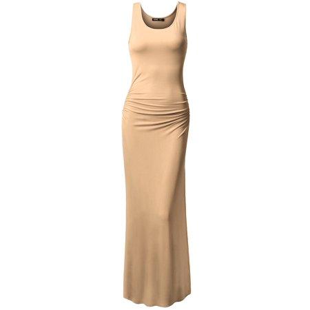 Thanth Side Shirring Waist Sleeveless Maxi Dress(Plus Size Available) - White Elven Dress