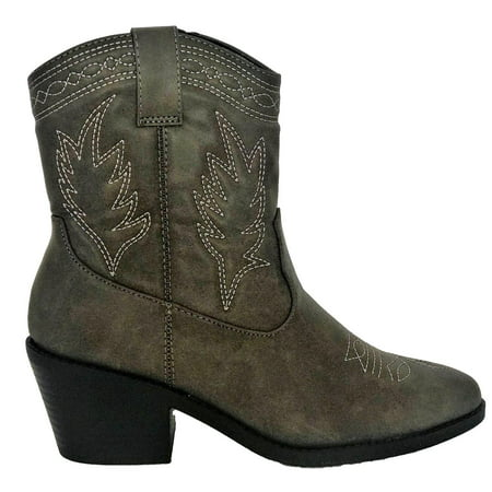Picotee Women Western Cowboy Cowgirl Stitched Ankle High Short Boots Taupe
