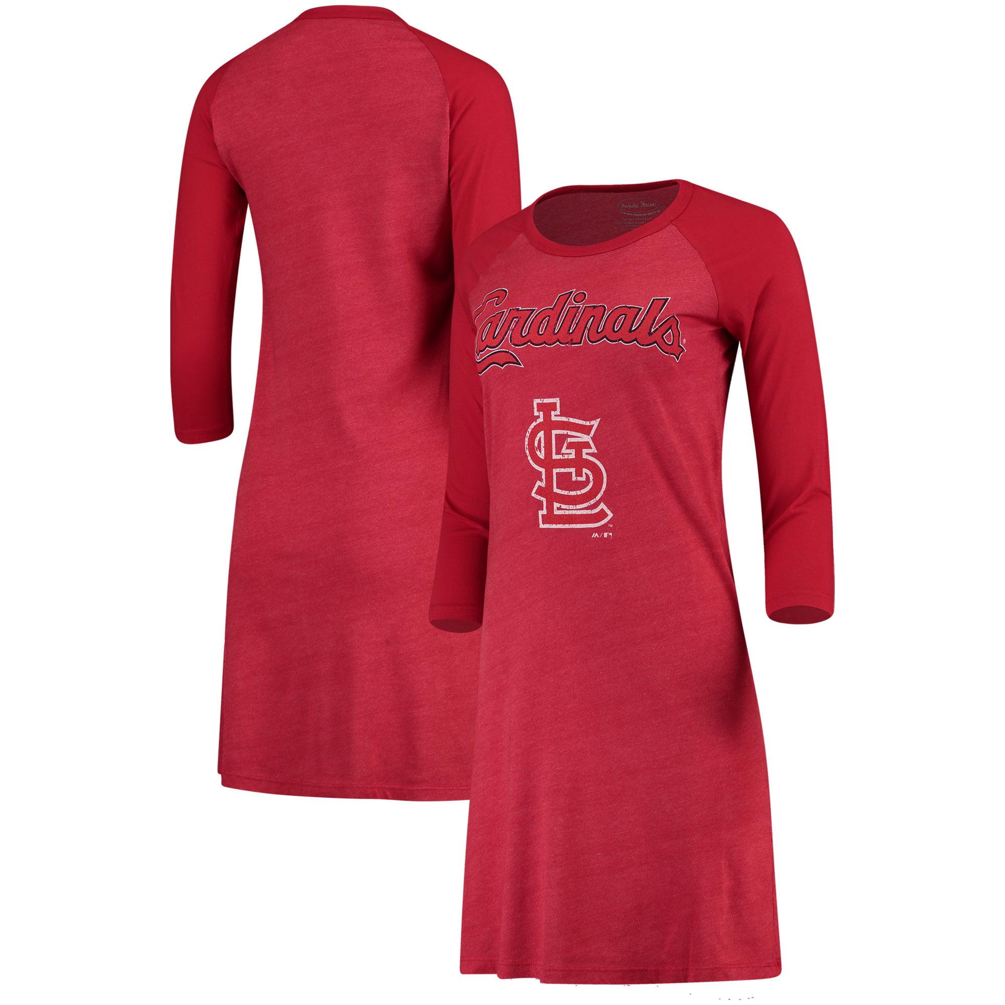 St. Louis Cardinals Majestic Threads Women's Tri-Blend 3/4-Sleeve Raglan Dress - Red
