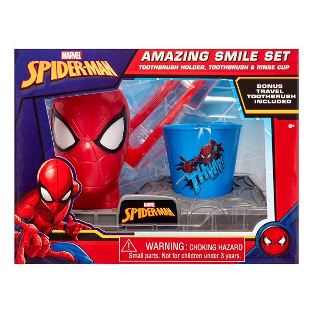 Marvel Spider Man 3 Piece Super Smile Toothbrush And Toothbrush Holder Set Walmart Com Walmart Com
