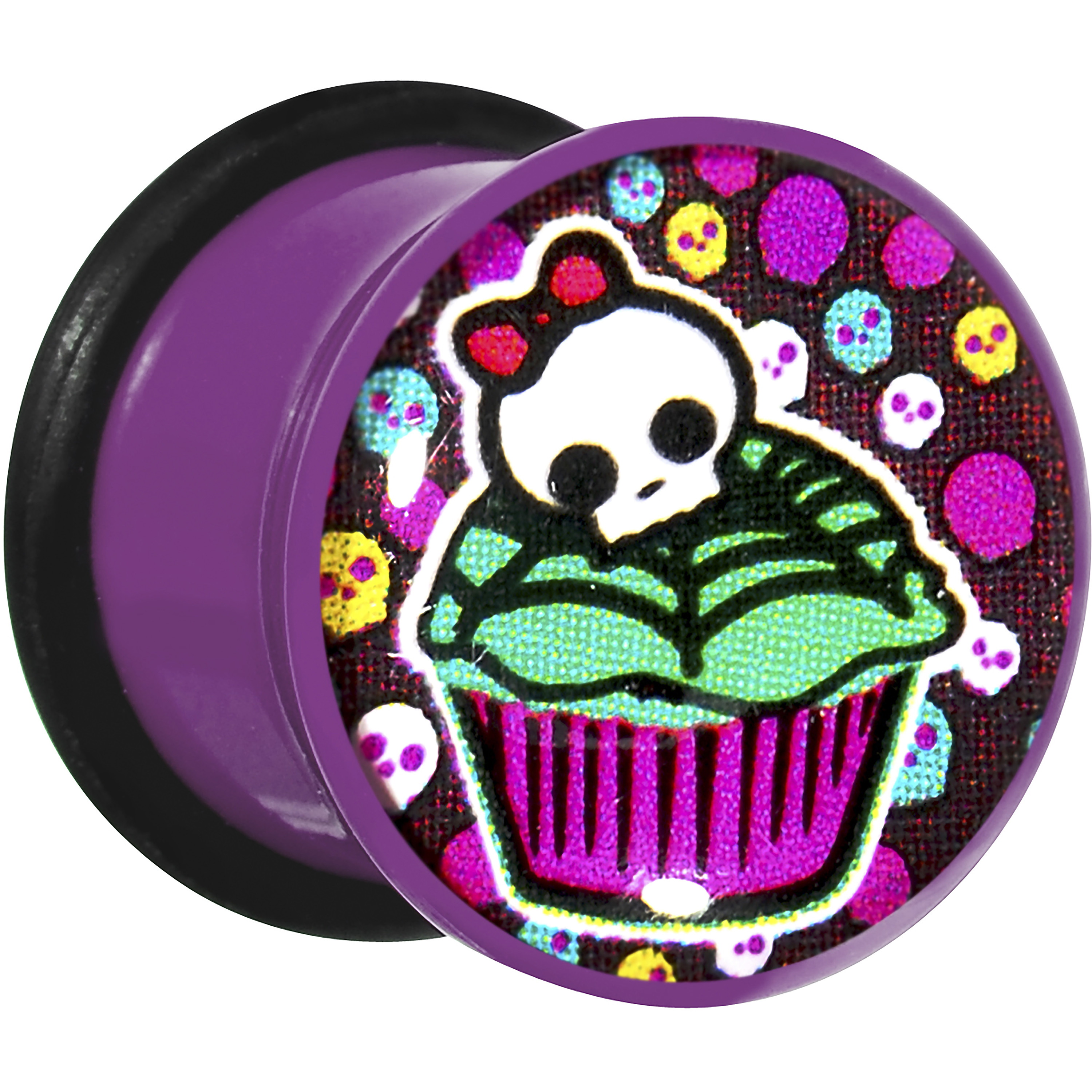 Body Candy Purple Acrylic Skull and Cupcake Single Flare Plug Set 1/2""