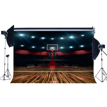 GreenDecor Polyster 7x5ft Photography Backdrop Basketball Field Stage Lights Vintage Wood Floor Interior Sports Theme Backdrops for Baby Kids Children Adults Portraits Background Photo Studio - Sports Themed Backdrops