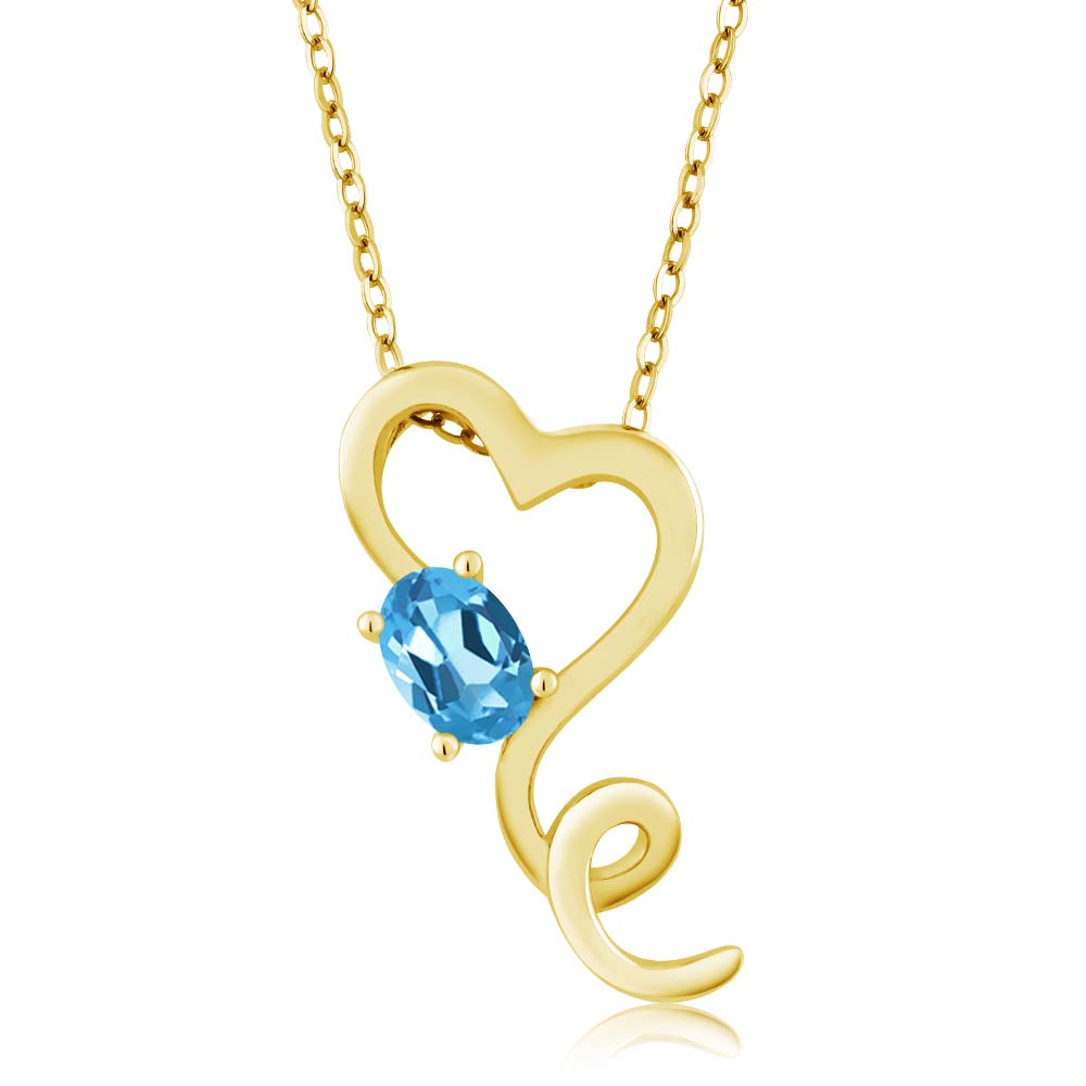 0.55 Ct Oval Swiss Blue Topaz Gold Plated Sterling Silver Pendant