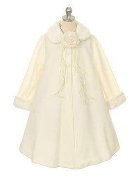 Ivory Fleece Faux Fur Collar Cuff Stylish Coat Girls 4-12