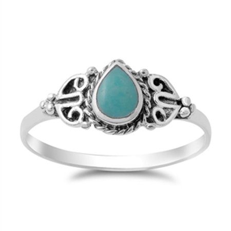 CHOOSE YOUR COLOR Vintage Celtic Simulated Turquoise Fashion Ring New .925 Sterling Silver Band