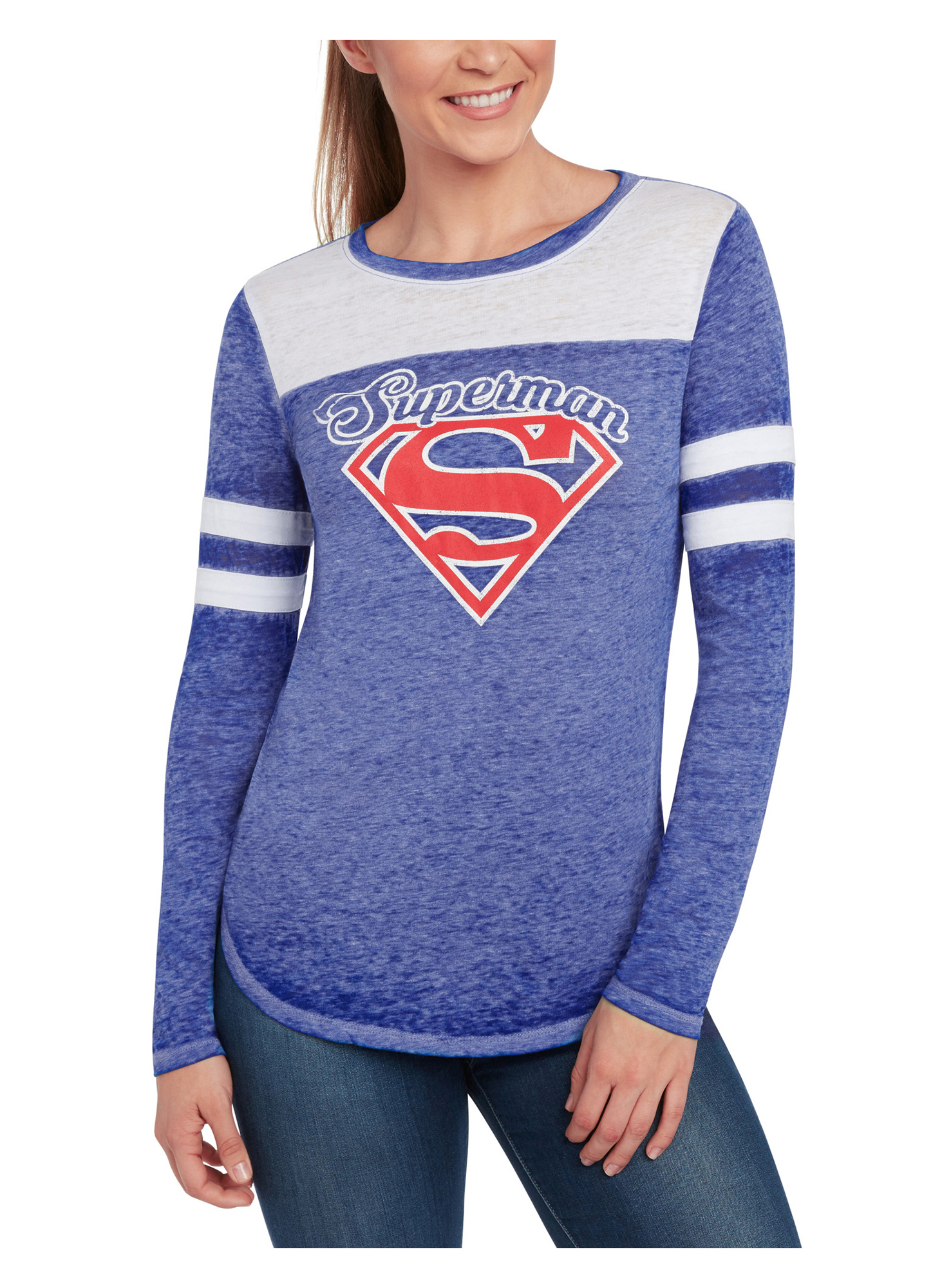 Juniors Superman Long Sleeve Shirt - Burnout Blue