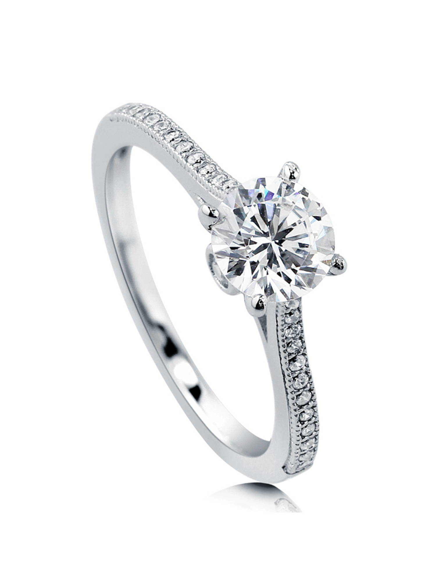 Princess Kylie Pave Set Cubic Zirconia Snake Design Ring Rhodium Plated Sterling Silver