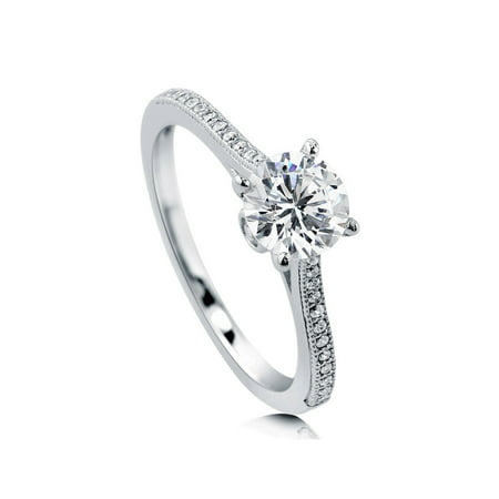 Rhodium Plated Sterling Silver Cubic Zirconia CZ Solitaire Promise Engagement Ring Size 10 ()