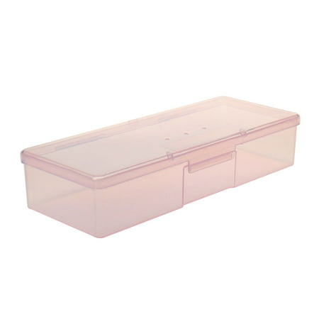 Salon Plastic Rectangle Design Manicure Pen Storage Box Case Clear Pink Atlantic Plastic Media Storage