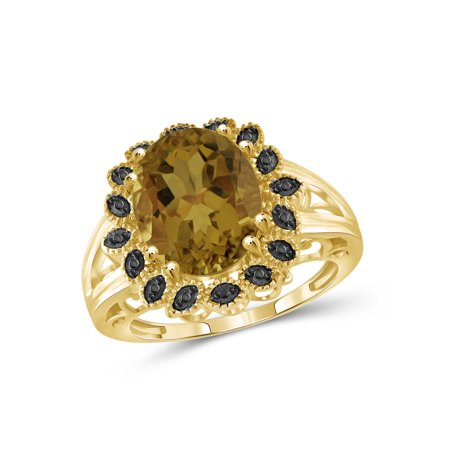 1-1/2 Carat T.G.W. Whiskey and Black Diamond Accent 14kt Gold over Silver Flower