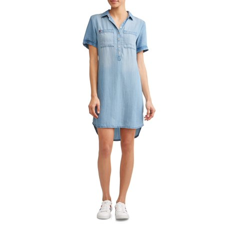 Chambray 2-Pocket Short Sleeve Dress Women's - Dresses From Great Gatsby