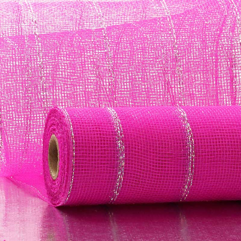 "21"" X 10 Yards Hot Pink/Silver Deco Mesh W/Thin Metallic Stripe by Paper Mart"