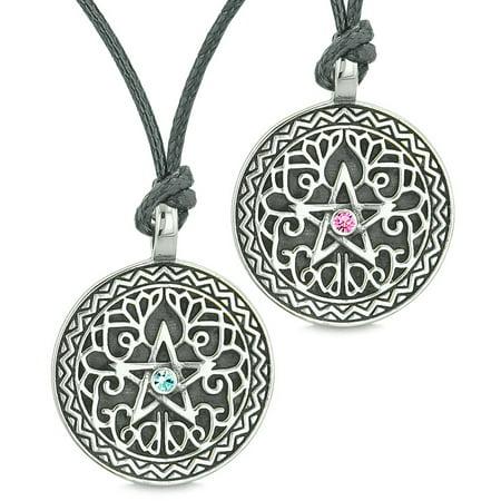 Pentacle Star Celtic Defense Amulets Love Couples or Best Friends Blue Pink Crystals Adjustable