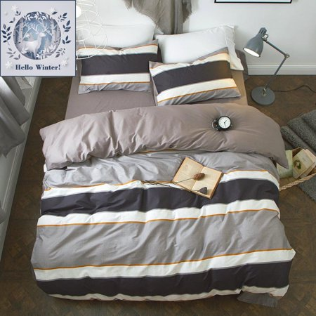 Bulutu Cotton Twin Duvet Cover Sets With 4 Corner Ties Inside Grey Hypoallergenic Multicolor Horizontal Stripes