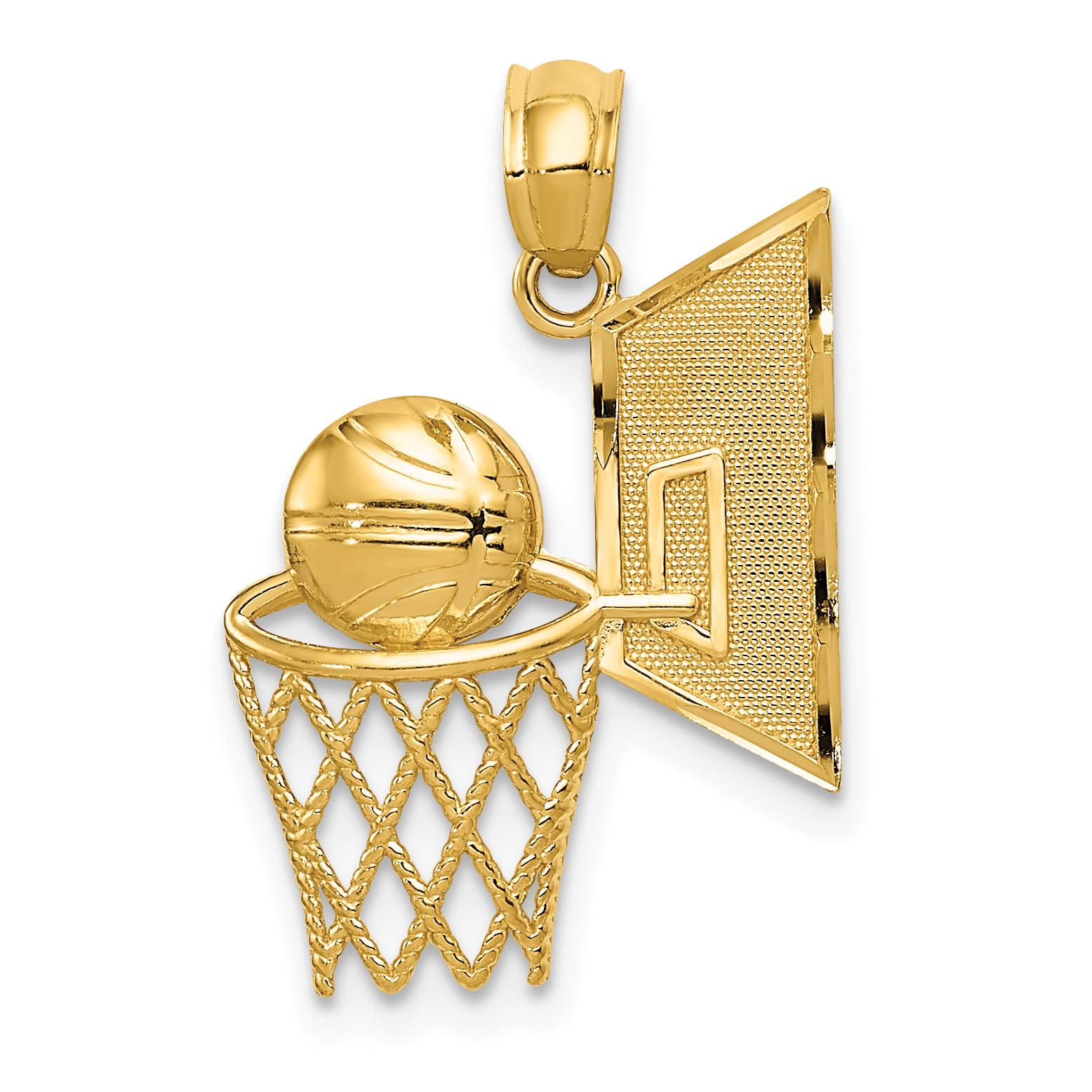 14k Yellow Gold Basketball Pendant Charm Necklace Sport Fine ... 223ae4b48f