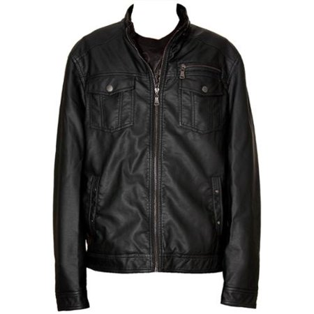 RNZ Premium Designer Men's Faux Leather Jacket - M2-Black-L
