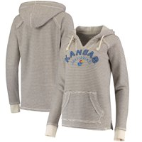 Kansas Jayhawks Blue 84 Women's Striped French Terry V-Neck Pullover Hoodie - Cream