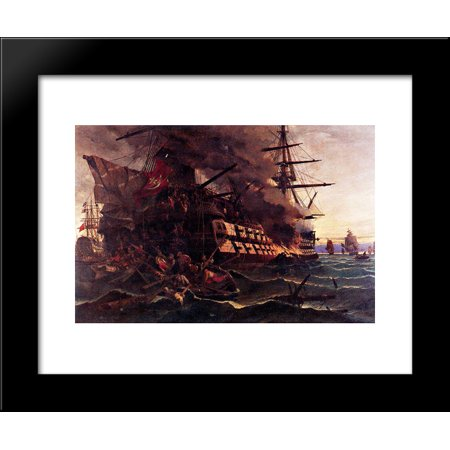 The Attack On The Turkish Flagship In The Gulf Of Eressos At The Greek Island Of Lesvos By A Fire Ship Commanded By Dimitrios Papanikolis 20X24 Framed Art Print By Konstantinos Volanakis