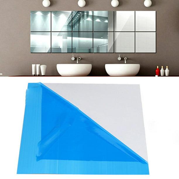 16x Mirror Tile Wall Sticker Square Self Adhesive Room Decor Stick On Modern Art
