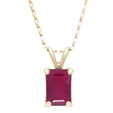 6X4MM Emerald Cut Genuine Gemstone Pendant 18