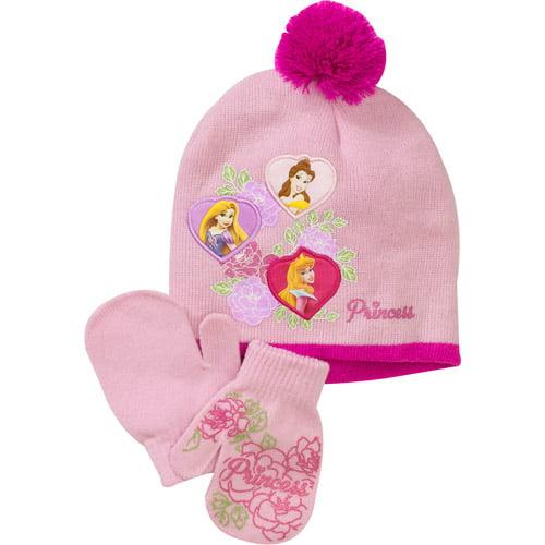 Disney Girls' Princess Hat and Mitten Set