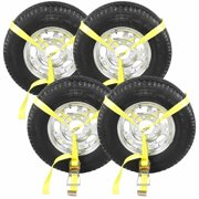 Side Mount Wheel Net with Ratchet and Flat Hook - 4 pack