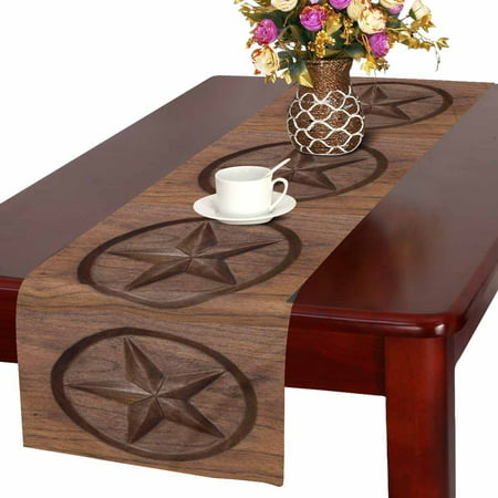 MKHERT Western Texas Star in Wood Table Runner Home Decor for Wedding Party Banquet Decoration 16x72 - Western Party Decor
