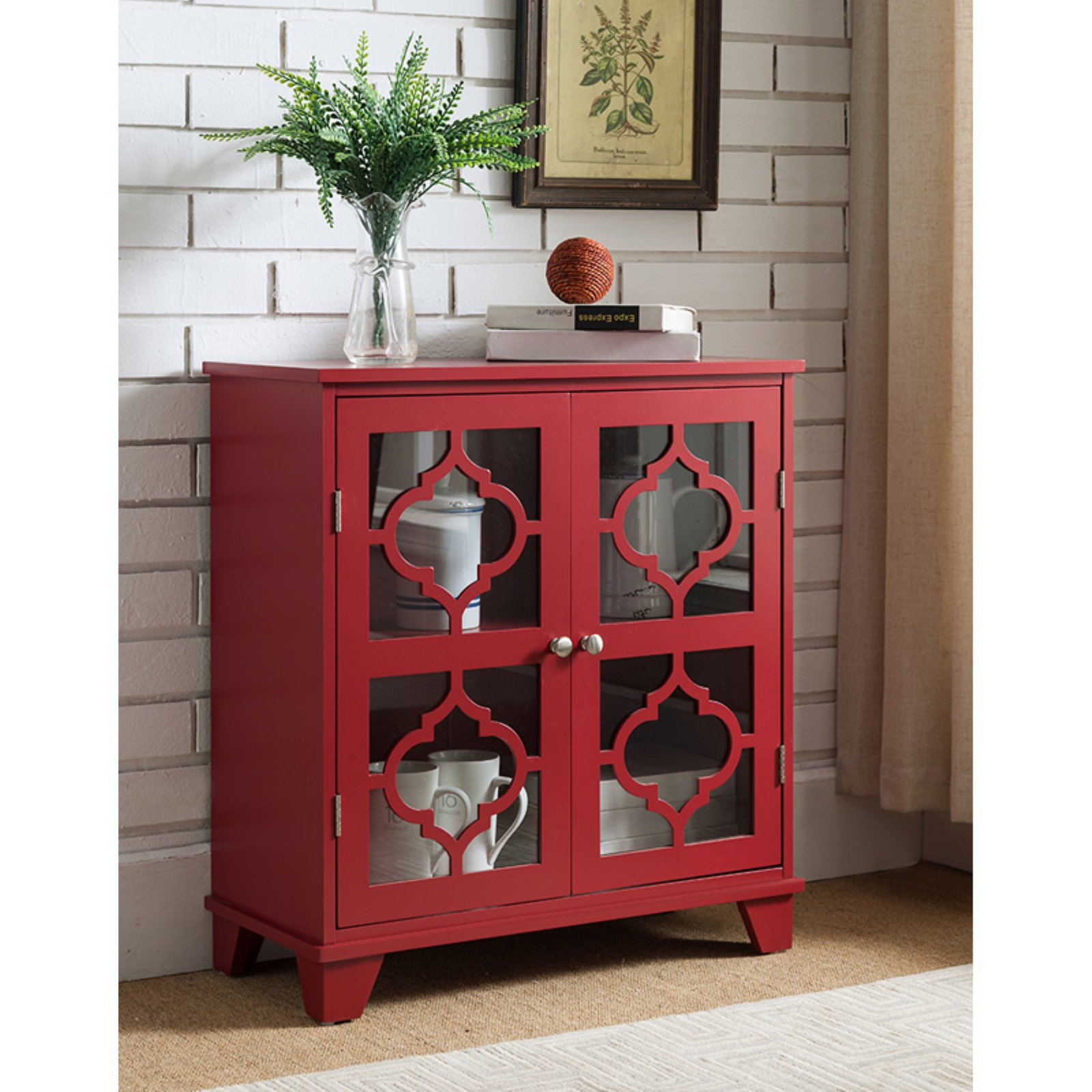 K&B Furniture Red Wood 2 Door Storage Cabinet