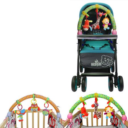 Cute Forest Cloth Animal Birds Toys Baby Travel Play Arch Activity Bar for Stroller Pram Crib Specification:Forest animals - image 6 de 6