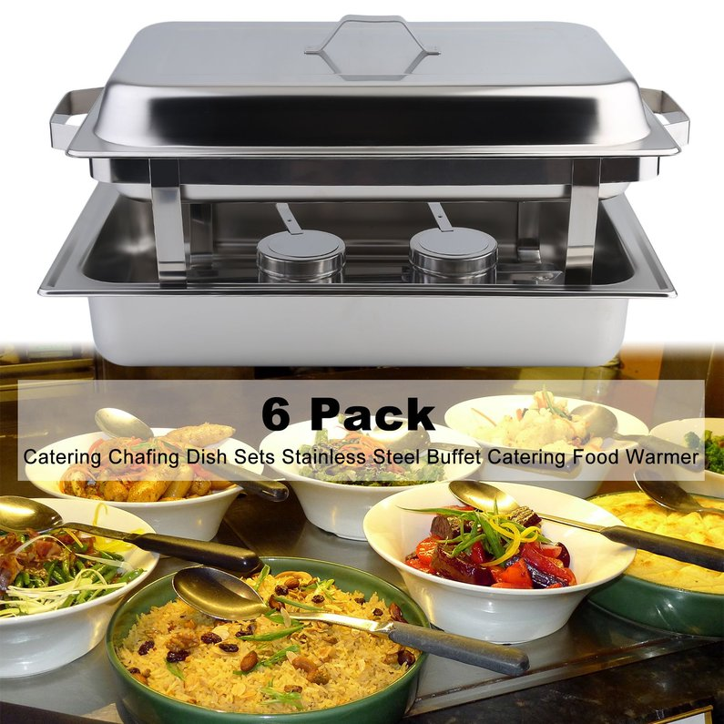 6 Pack Catering Chafing Dish Sets Buffet Catering Food Warmer Stainless Steel Kitchen Dining Heater Warming Food Device(Silver)