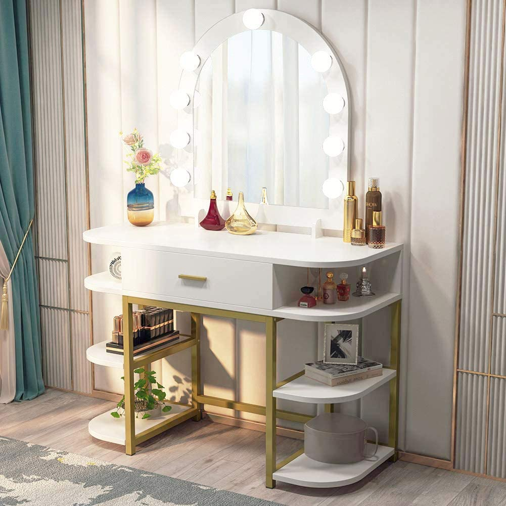 Tribesigns Large Vanity Table with Lighted Mirror and ...