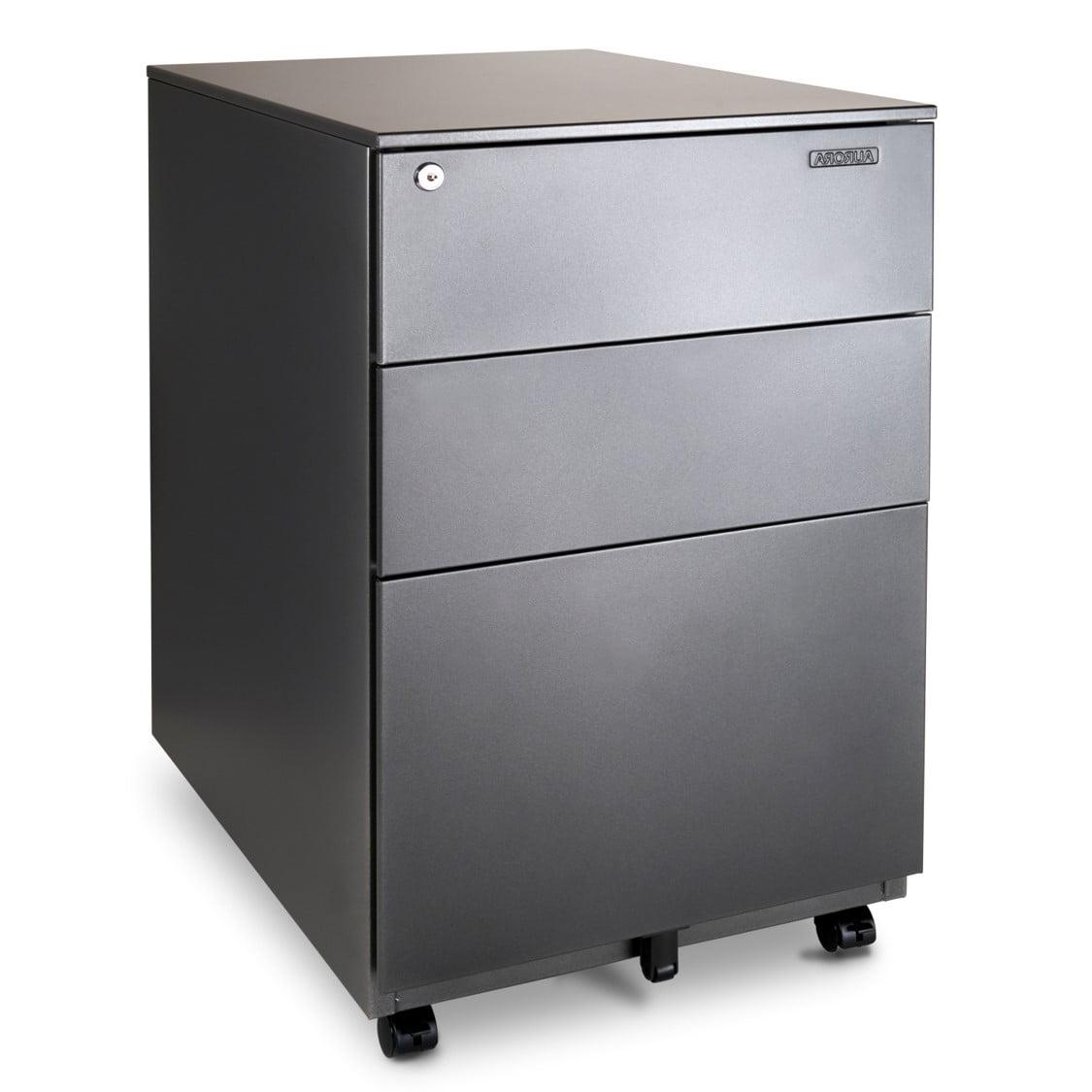 Aurora FC-102BK Modern Soho Design 2-Drawer Metal Mobile File Cabinet Black