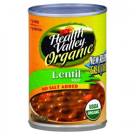 Health Valley Organic Lentil Soup No Salt Added, 15 Ounce Cans