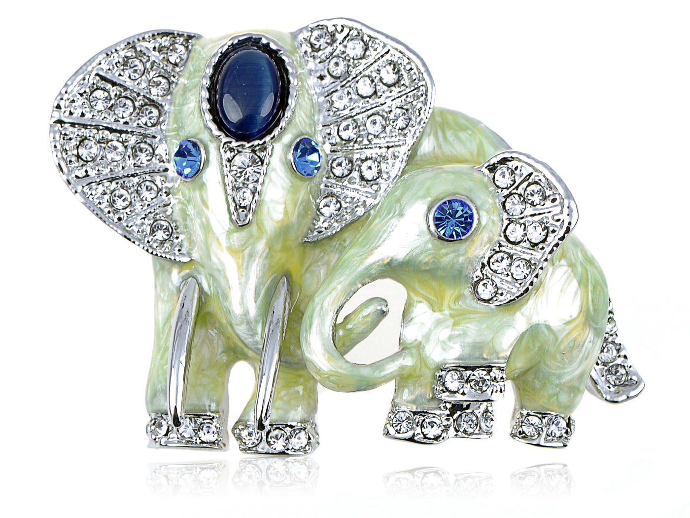 Swarovski Crystal Elements Synthetic Sapphire Eyed Pearlescent Paint Elephant... by