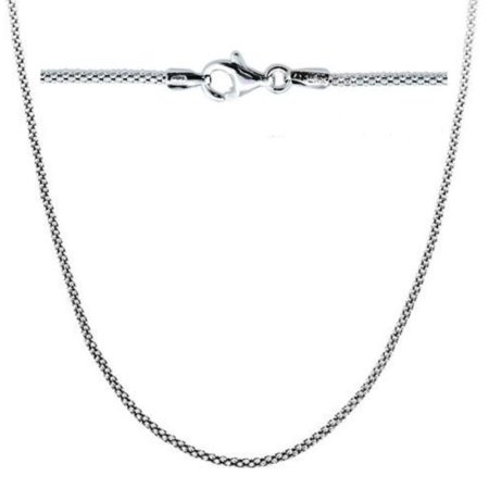 Sterling Silver Popcorn Chain Necklace 18 inch Rhodium Plated
