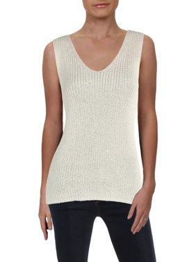 Vince Camuto Womens Metallic Double V Tank Top Sweater