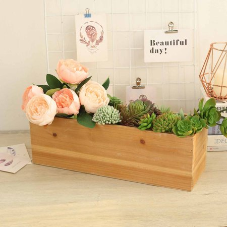 Efavormart 14x5'' Rectangle Wood Box DIY Rustic Wooden Planter Boxes With Plastic Liner](Wood Planter Boxes)
