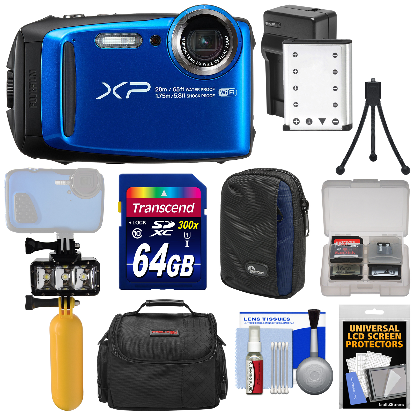 Fujifilm FinePix XP120 Shock & Waterproof Wi-Fi Digital Camera (Blue) with 64GB Card + Battery & Charger + Diving LED Video Light + Buoy + Cases Kit