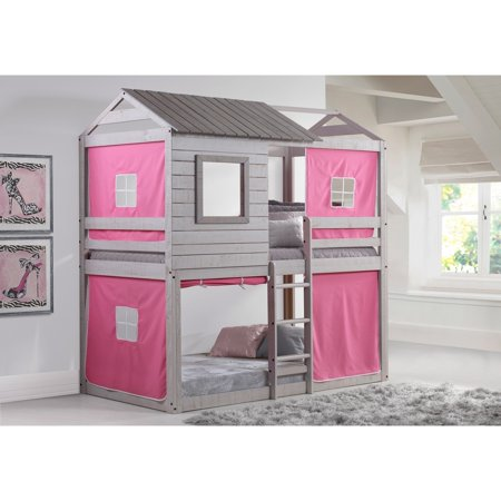 Donco Kids  Deer Blind Twin over Twin Bunk Loft with Tent in Light Grey