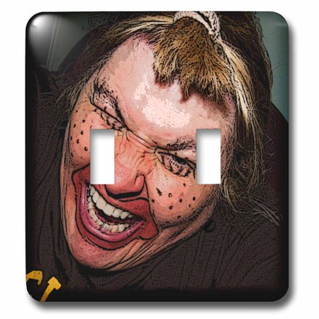3dRose Lady Dressed Up Like Ugly Clown for Halloween With Her Face Very Animated, Silly and Scary - Double Toggle Switch