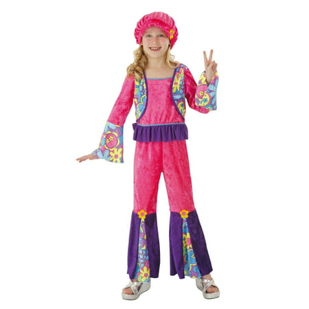 Totally Ghoul Girls Pink & Purple Velvet Hippie Girl - Pink Hippie Costume