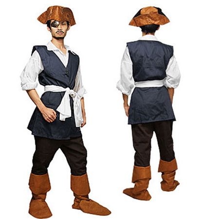 Men Pirate Captain Full Set + Hat and Eye Patch US 38 - Captain Hat Halloween