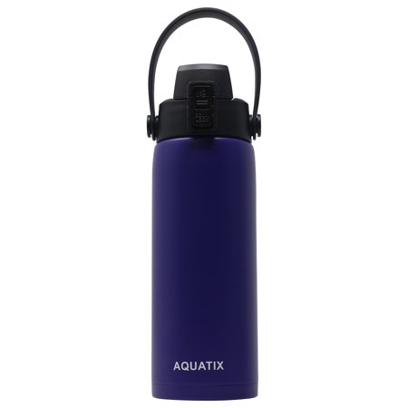 Aquatix (Purple, 21 Ounce) Pure Stainless Steel Double Wall Vacuum Insulated Sports Water Bottle Convenient Flip Top Cap with Removable Strap Handle - Keeps Drinks Cold 24 hr/Hot 6 hr
