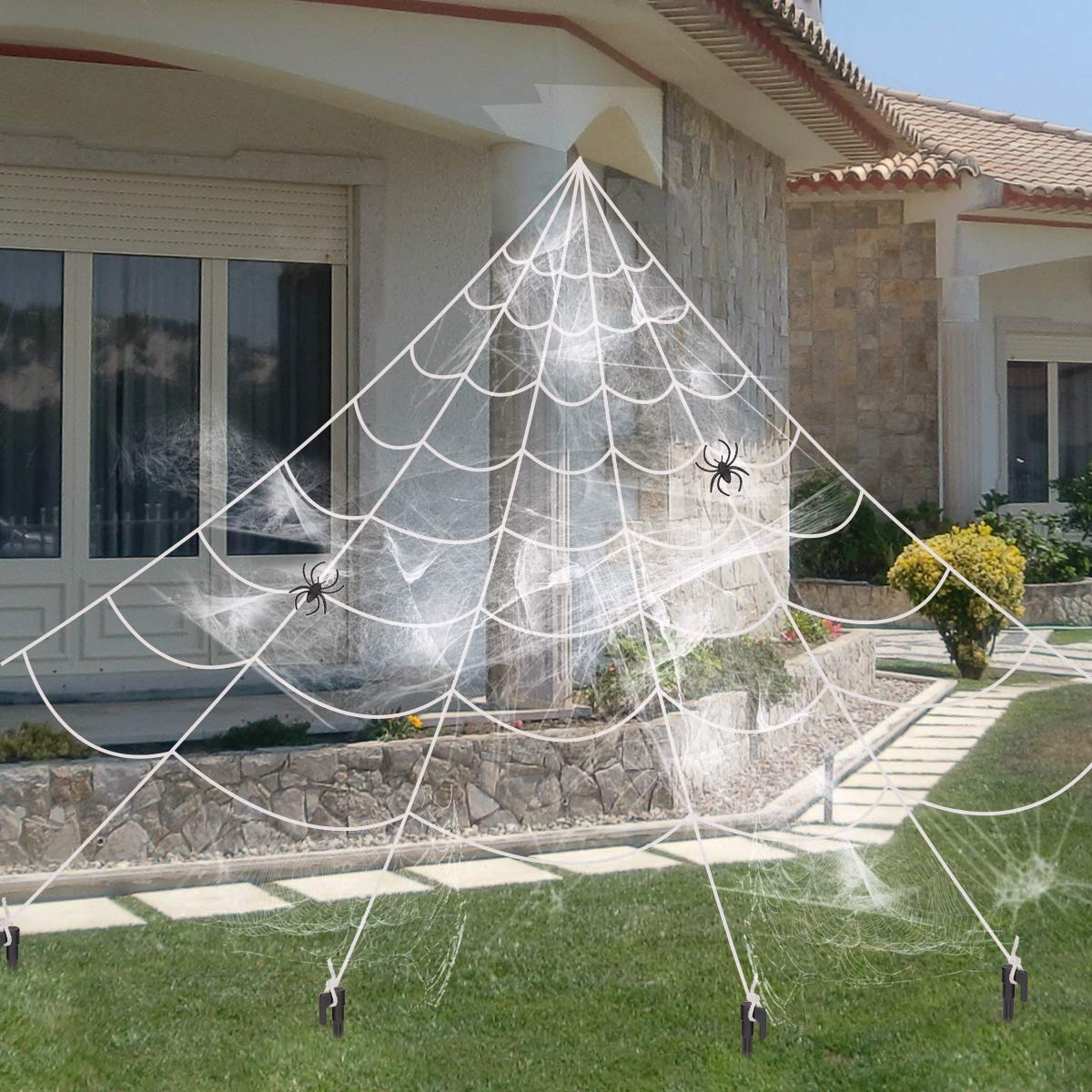 16Ft Giant Spider Web With 2 Small Spider For Outdoor Halloween Decorations