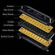 NAOMI 3pcs Hoodoo Blues Harmonicas C, D, G Key Harmonica Set 10 Holes with Zippered Carrying Case