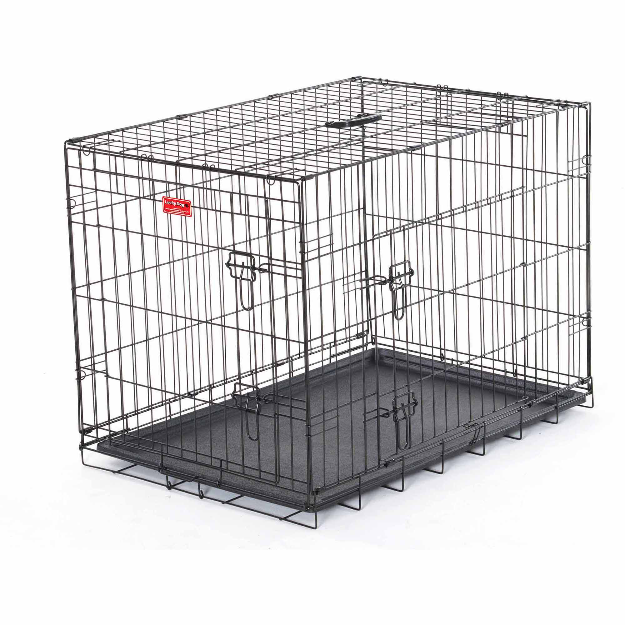 dog crates - l lucky dog folding black wire  door training crate